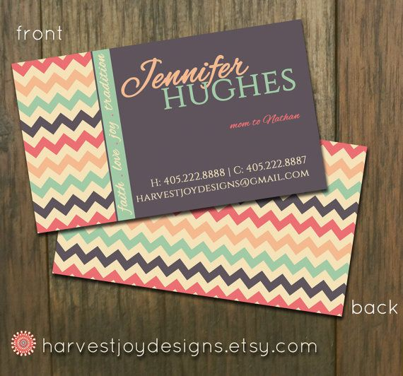 Vintage Modern Chevron Business Card - Chevron Calling Card - Faith Love Joy - Coral Mint Gray - Digital Printable Premade Business Card