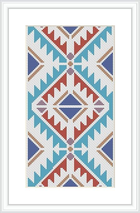 Native American Design Cross Stitch Pattern Geometric pattern Tribal cross…
