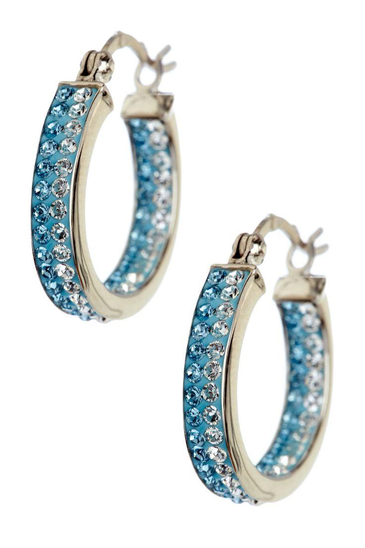 Sterling Silver Blue & White Crystal Hoop Earrings