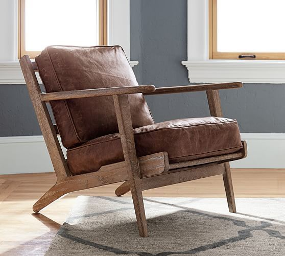 Raylan Leather Armchair, Down Blend Wrapped Cushions, Havana Brown