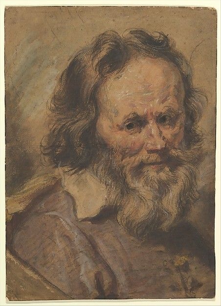 Head of a Bearded Man watercolor -  Giovanni Serodine (Italian, Rome 1600–1630 Rome)    #TuscanyAgriturismoGiratola