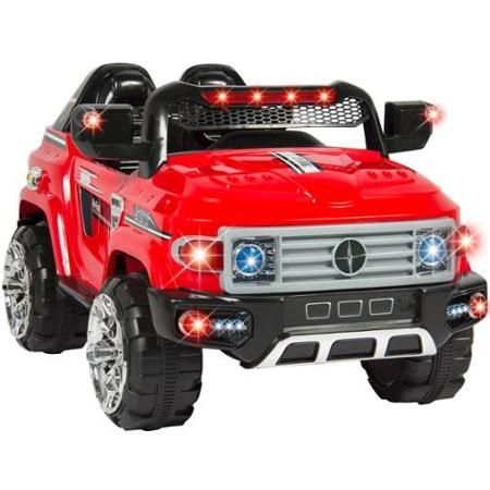 12v mp3 kids ride on truck car rc remote control led lights aux and music