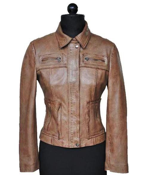NWT Women's Washed & Waxed Bomber Leather Jacket Style FS-184