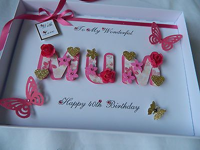 Personalised #handmade mothers #day/mum #birthday card 40 th 50 th 60th with box,  View more on the LINK: 	http://www.zeppy.io/product/gb/2/131520677796/