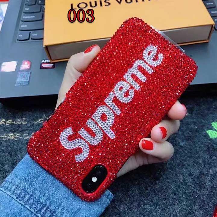 supreme iphone7plusカバー 赤 キラキラ