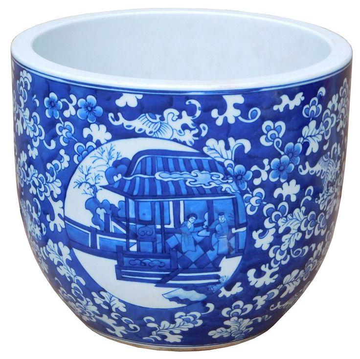 Chinese Blue White Oriental People Theme Ceramic Pot Planter cs2174S