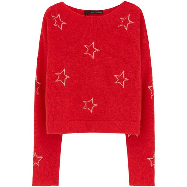 360 Sweater Polaris Cashmere Knit - Red Blush Stars ($310) ❤ liked on Polyvore featuring tops, star print top, cut-out crop tops, red scoop neck top, 360 sweater and red top