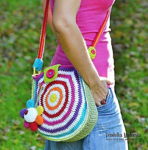 Großen Regenbogen Tasche - Tasche-Muster häkeln, Basteln