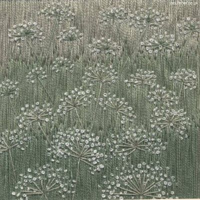 Field of Cow Parsley hand embroidery on painted background by Jo Butcher