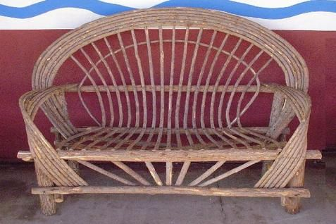 Western Loveseats - Handmade Artisan Willow Furniture Décor – Rustic Outdoor Umbrella Swings