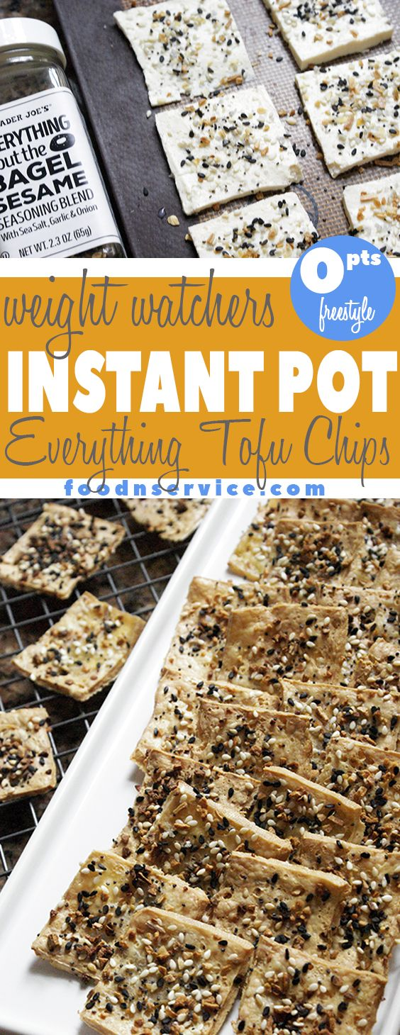 These Everything Tofu Chips are exactly what you need to eat as soon as you can! They are ZERO points on the Freestyle Weight Watchers program, and everyone is gonna love them! #vegan #veganrecipe #weightwatchers #freestyle #recipes #healthy #traderjoes #tofu #weightloss via @foodnservice