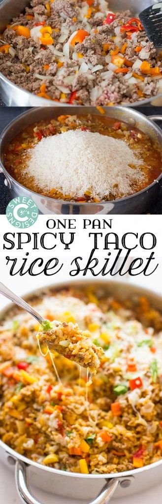 This One Pot Spicy Taco Rice Skillet is a delicious, filling gluten free meal that our whole family loves! Great in burritos or salad bowls too!