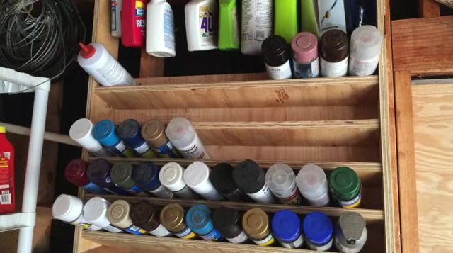 Spray Paint Storage Shelf Offers Instant Access to the Can You Need