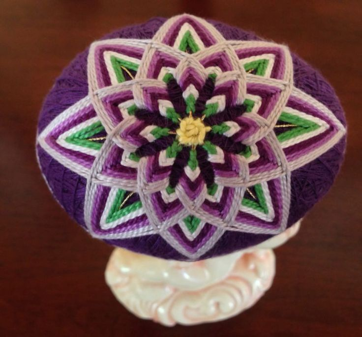 Japanese Style Temari Egg ~ Flower Design Purple Lime Green white Over Dark Purple