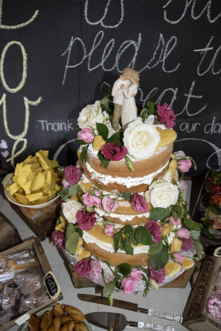 Reception. Wedding Cake. Rustic Cake with flowers. Willow Tree cake topper - The Promise.  - Decor #Burgerwedding #12March2016