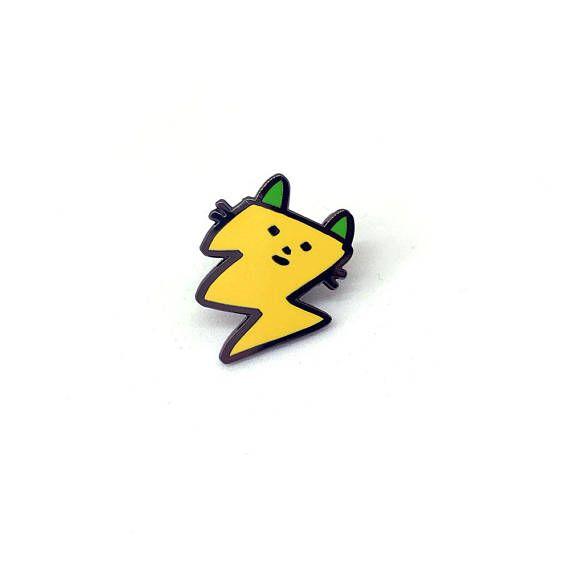 Lightning cat enamel pin