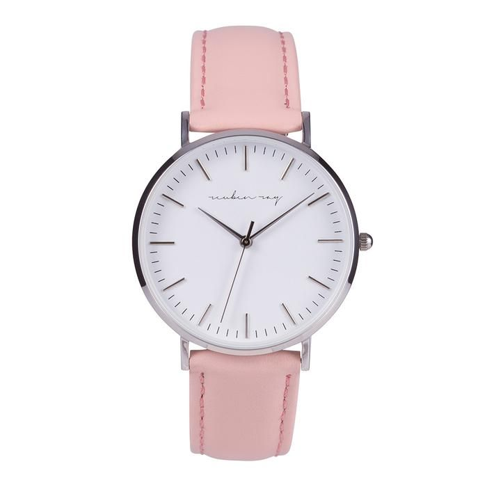 Reuben Ray Classic Silver Watch with Pink Stitched Leather Band