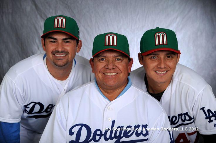LA Dodgers Adrian Gonzalez, Fernando Valenzuela and Luis Cruz