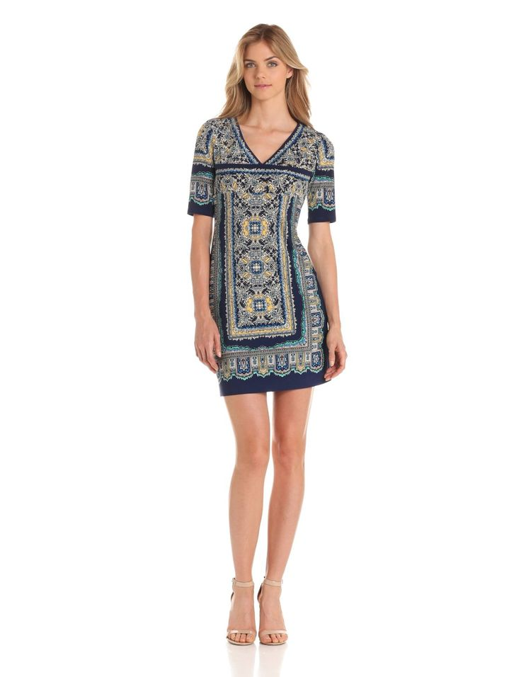 Donna Morgan Women's Elbow Sleeve V-Neck Dress With Empire Band ~ Front View