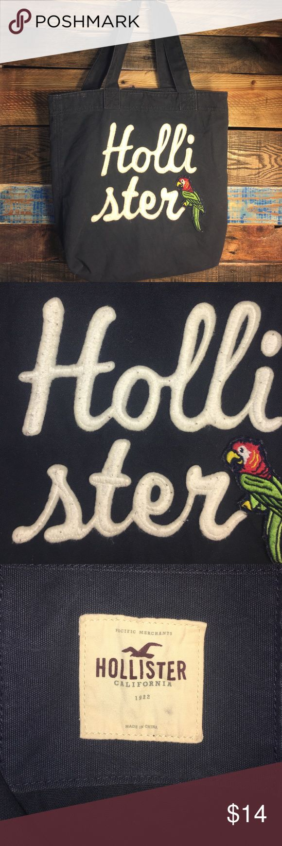 """HOLLISTER tote HOLLISTER tote, very cute! In great condition! Has the """"fuzzy"""" look on the word HOLLISTER. This tote is 16 inches deep and it is 15.5 inches wide --there's no holes -tears or stains and it is from a non-smoking home Hollister Bags Totes"""