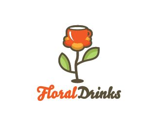 Floral Drinks Logo design - Logo design of a flower with a beautiful cup of tea on it. Price $299.00