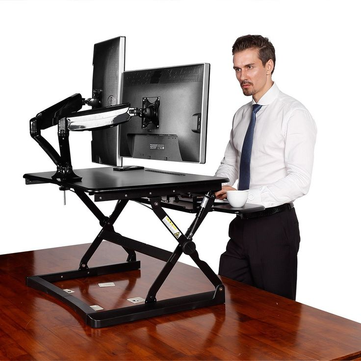 "Desktop Workstation Combo - 35"" Wide Platform Height Adjustable Stand Up Desk Riser with Dual Monitor Arm"