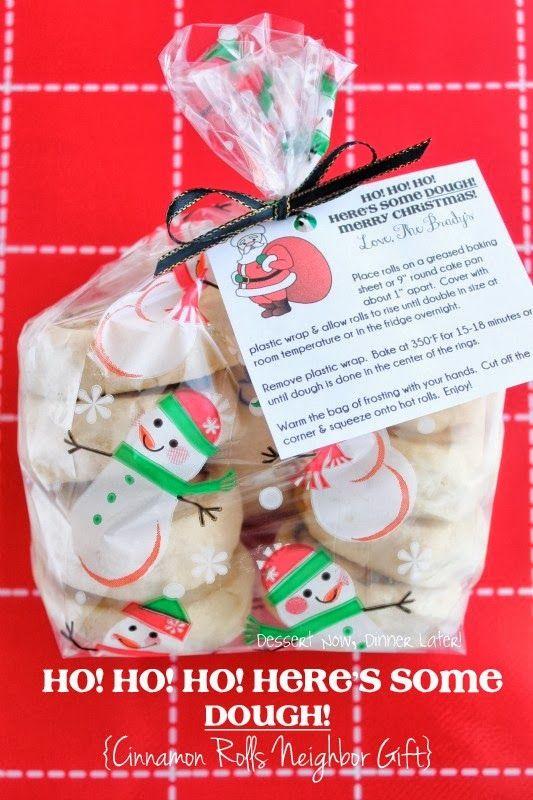 HO! HO! HO! Here's Some Dough! Cinnamon Rolls Neighbor Gift | DessertNowDinnerLater.com #Christmas #gifts