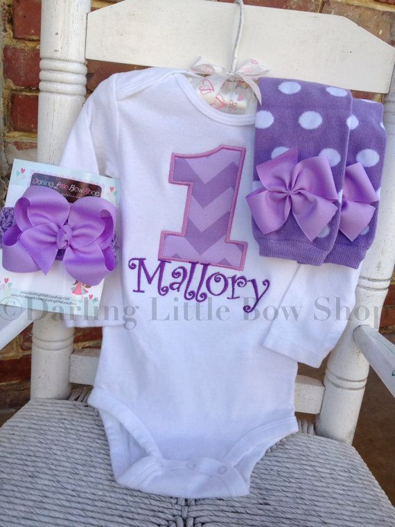 First Birthday Outfit -- Pretty Purple Chevron -- basic bow, leg warmers, and personalized bodysuit with chevron