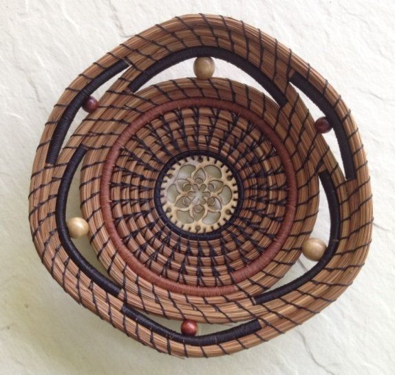 Pine Needle Basket with Wooden Center. $80.00, via Etsy.