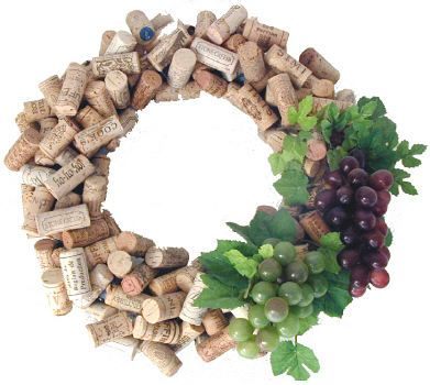 DIY HOme Decor - Wine cork wreath, decorating with the grapes is