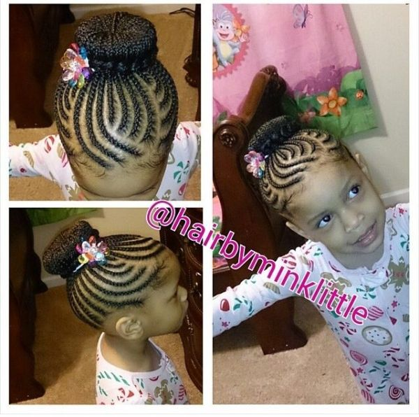 Braids / protective hairstyle / updo / cute / hairstyles for kids / bun / toddle…