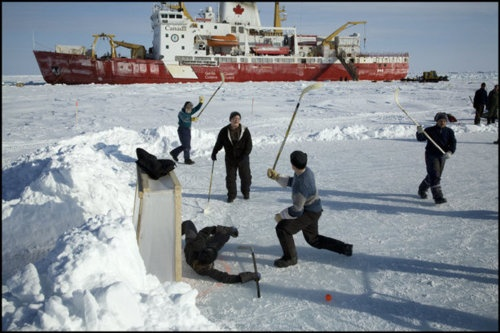 An international scientific expedition aboard the Canadian coast guard icebreaker Amundsen in the Amundsen Gulf. The expedition team is off during the day, April 2008. So they decided to play hockeyyyy!
