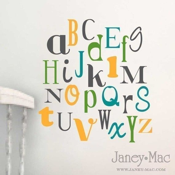 RESERVED   Childrens Alphabet Wall Decal   Nursery Childrenu0027s Bedroom Fun  And Funky Fonts   Modern Gender Neutral   Wall Art   Via Etsy Part 36
