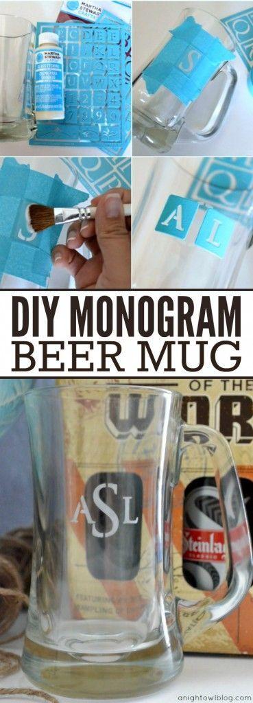 Manualidades para regalar en San Valentin. Usa los stencils para agregar un monograma personalizado a un beer mug o un vaso.