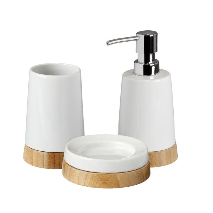 ensemble daccessoires de salle de bains en cramique et bambou blanc lanca - Accessoire Salle De Bain Bambou