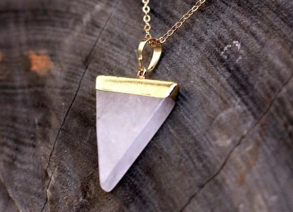 Triangle Rose Quartz Crystal Necklace  by SpaceBearProductions
