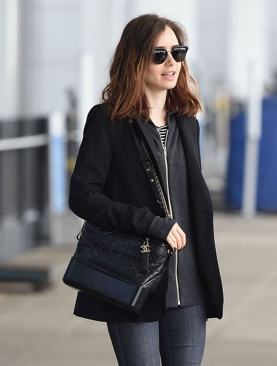 82657c63c931bd Just Can't Get Enough: Lily Collins and Her Chanel Gabrielle Bag ...