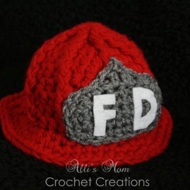 Fireman Hat Cute Baby Crochet Knit Hats