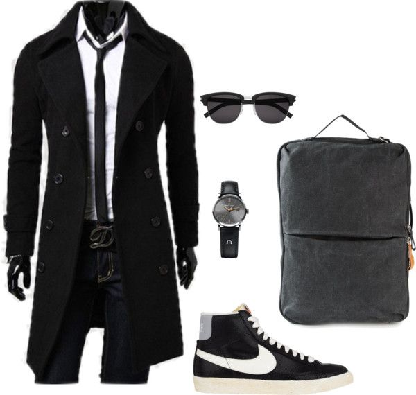 Black Outfit by geekhoodies on Polyvore featuring NIKE, QWSTION, Maurice Lacroix, Yves Saint Laurent, outfit, black, doctorwho, jacket and menswear