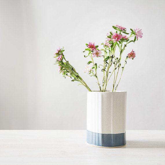 Ceramic Vase, Blue and White Flower Pot, Modern Ceramic Planter, Kitchen table…