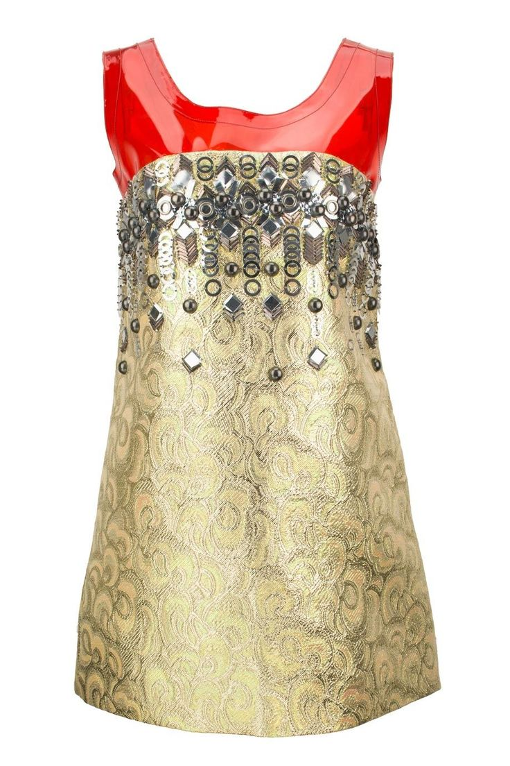 Miu Miu (HK$1,900) - Embellished jacquard mini dress with PVC panel - Available now on HULA #miumiurunway