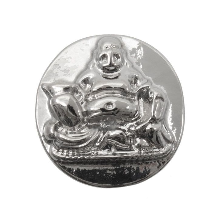 Snap! Metal Interchangeable Fastener Round Buddha 18MM Nickel 1pc Off Price Policy - 4005-0101-004 - Club Bead Plus