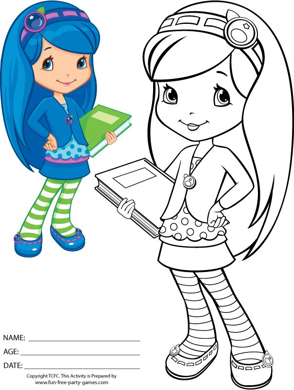 strawberry shortcake coloring page to print featuring blueberry muffin cakepinscom