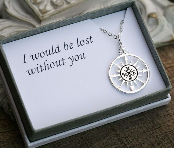 Gold Compass Necklace and Message Card