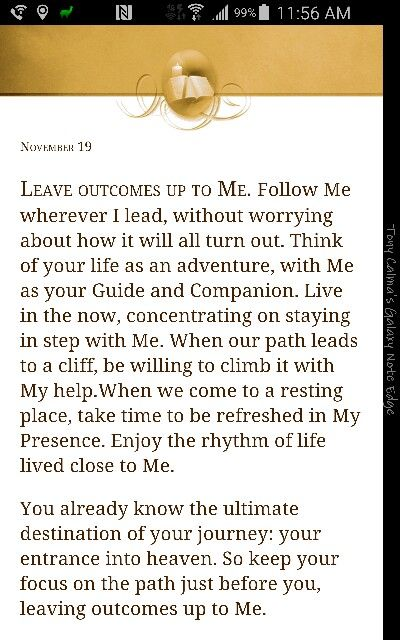 "From ""Jesus Calling"" by Sarah Young...I received this book from a dear friend..."
