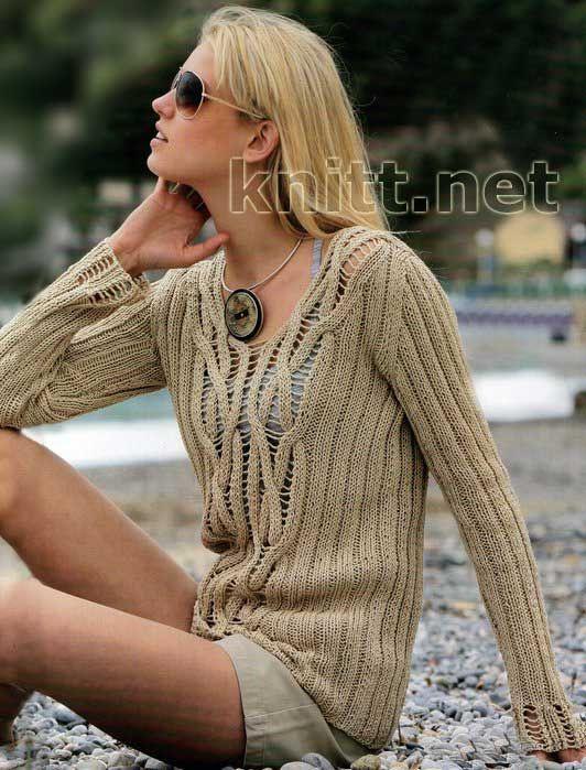 Вязанный джемпер орехового цвета | knitt.net | Все о вязании