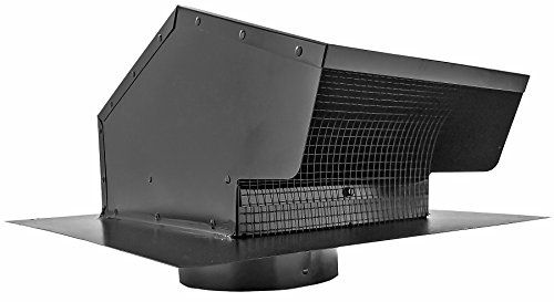 Builder's Best 012633 Roof Vent Cap, Black Galvanized Metal, with 6-inch diameter collar - This 012633 Black Metal Roof Vent Cap is designed for use with range hood and bath fan exhaust. It is 26 gauge galvanized steel with a black powder coat finish. This 6-inch version includes a removable 1/4 x 1/4 inch screen and a built in backdraft flapper. Builder's Best black metal roof caps be...