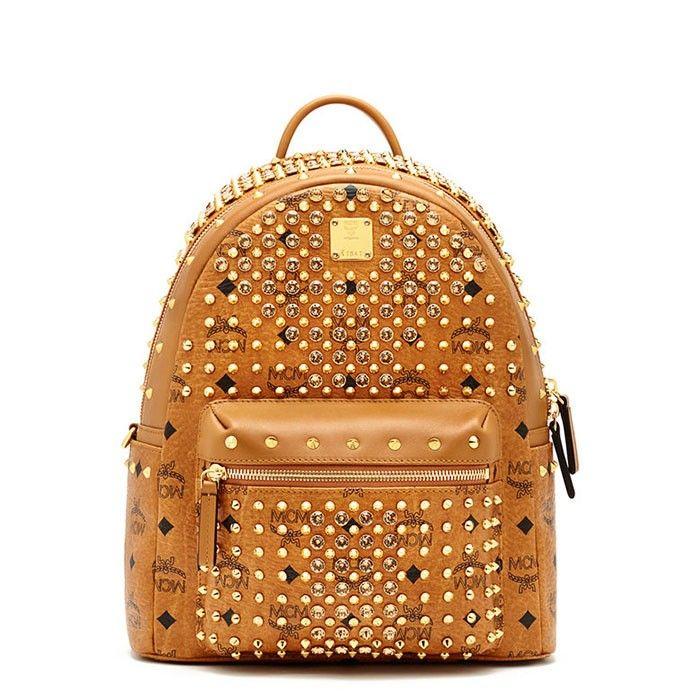 MCM Small Diamond Stark Backpack In Brown