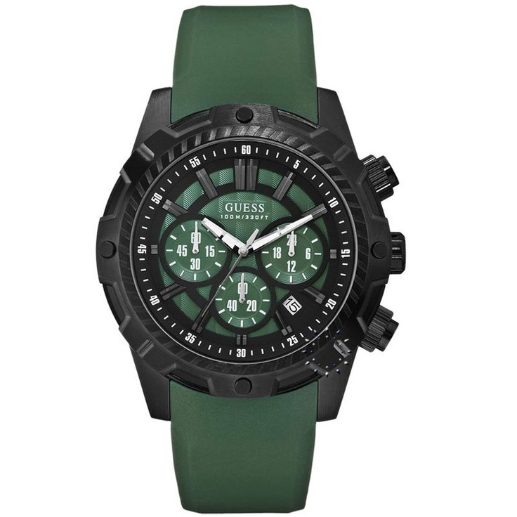 GUESS Chronograph Green Rubber Strap  195€  http://www.oroloi.gr/product_info.php?products_id=29265