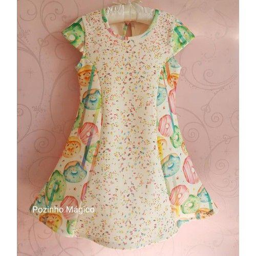 Vestido infantil rosquinhas confeitos Mon Sucre  - Vestidos  • Pozinho Mágico